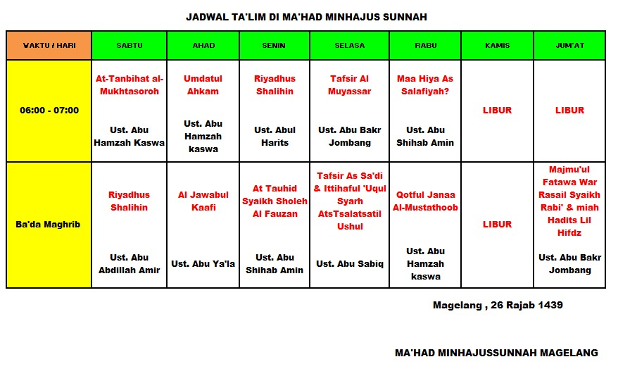 Jadwal Ta'lim/Kajian di Pondok Minhajus Sunnah Magelang